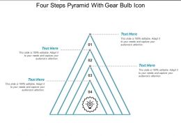 Four Steps Pyramid With Gear Bulb Icon