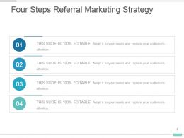 Four Steps Referral Marketing Strategy Presentation Diagram