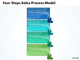 Four Steps Sales Process Model Flow Chart Template Powerpoint Slides