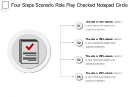 Four Steps Scenario Role Play Checked Notepad Circle