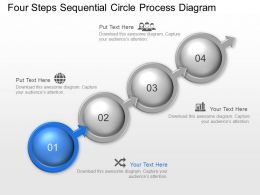 Four Steps Sequential Circle Process Diagram Powerpoint Template Slide