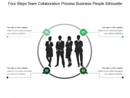Four Steps Team Collaboration Process Business People Silhouette