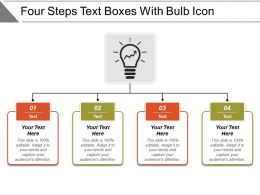 Four Steps Text Boxes With Bulb Icon
