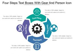 Four Steps Text Boxes With Gear And Person Icon
