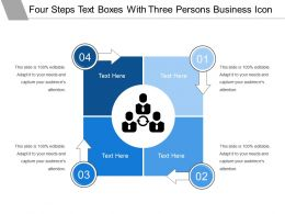 Four Steps Text Boxes With Three Persons Business Icon