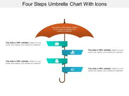 Four Steps Umbrella Chart With Icons