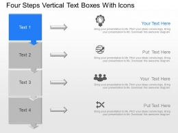 Four Steps Vertical Text Boxes With Icons Powerpoint Template Slide