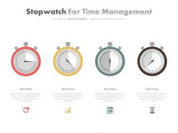 Four Stopwatch For Time Management Powerpoint Slides