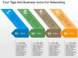 Four Tags And Business Icons For Networking Flat Powerpoint Design