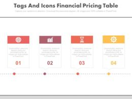Four Tags And Icons Financial Pricing Table Powerpoint Slides