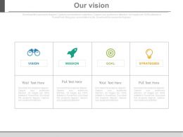Four Tags And Icons For Business Vision Powerpoint Slides