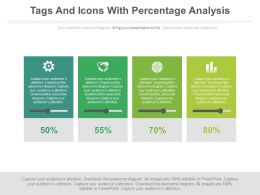 Four Tags And Icons With Percentage Analysis Powerpoint Slides