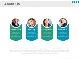 Four Tags And Pictures About Us Details Powerpoint Slides