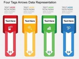 Four Tags Arrows Data Representation Flat Powerpoint Design