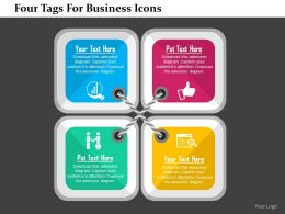 Four Tags For Business Icons Flat Powerpoint Design