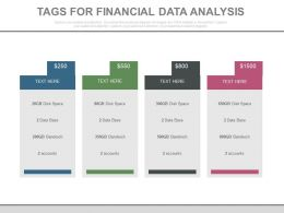 Four Tags For Financial Data Analysis Powerpoint Slides