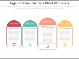 Four Tags For Financial Data Chart With Icons Powerpoint Slides