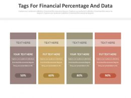 Four Tags For Financial Percentage And Data Powerpoint Slides
