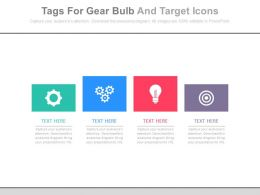 Four Tags For Gear Bulb And Target Icons Powerpoint Slides