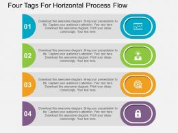 Four Tags For Horizontal Process Flow Flat Powerpoint Design