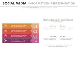 Four Tags For Social Media Information Representation Flat Powerpoint Design