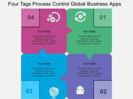 Four Tags Process Control Global Business Apps Flat Powerpoint Design