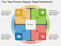 Four Tags Process Diagram Target Achievement Flat Powerpoint Design
