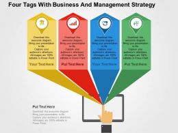 Four Tags With Business And Management Strategy Flat Powerpoint Design
