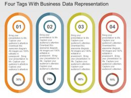 Four Tags With Business Data Representation Flat Powerpoint Design