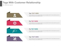 Four Tags With Customer Relationship Management Flat Powerpoint Design