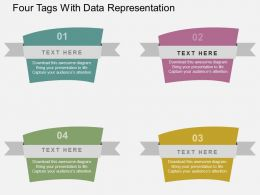 Four Tags With Data Representation Flat Powerpoint Design