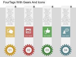 four Tags With Gears And Icons Flat Powerpoint Desgin