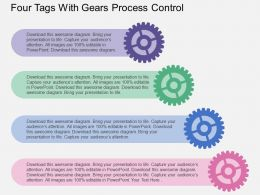 Four Tags With Gears Process Control Flat Powerpoint Design