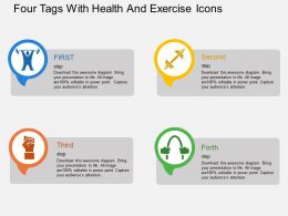 Four Tags With Health And Exercise Icons Flat Powerpoint Design