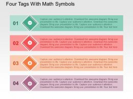 Four Tags With Math Symbols Flat Powerpoint Design