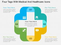 Four Tags With Medical And Healthcare Icons Flat Powerpoint Design