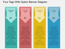 Four Tags With Option Banner Diagram Flat Powerpoint Design