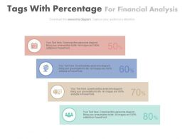 Four Tags With Percentage For Financial Analysis Powerpoint Slides