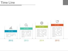 Four Tags Year Based Timeline Chart Powerpoint Slides