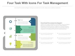 Four Task With Icons For Task Management Flat Powerpoint Design