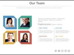 Four Team Members For Business Analytics Powerpoint Slides