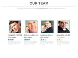 Four Team Members For Business Communication Powerpoint Slides