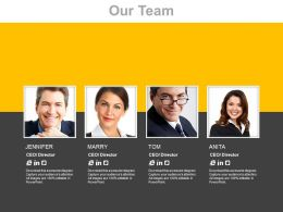 Four Team Members For Business Management Powerpoint Slides