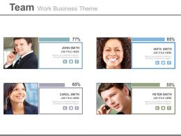 Four Team Members For Business Strategy Powerpoint Slide