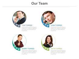 Four Team Members For Social Media Marketing Powerpoint Slides