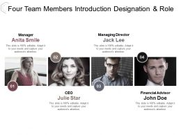 Four Team Members Introduction Designation And Role