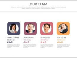 Four Team Members With Profiles Powerpoint Slides
