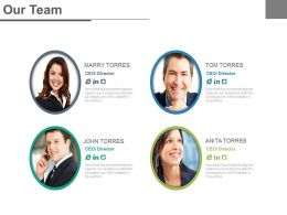 Four Team Profiles For Business Promotion And Success Powerpoint Slides