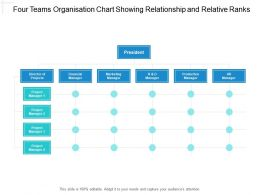 Four Teams Organisation Chart Showing Relationship And Relative Ranks
