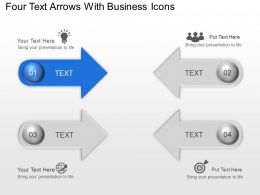 Four Text Arrows With Business Icons Powerpoint Template Slide